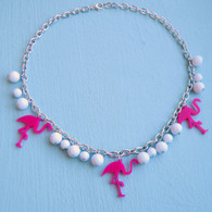 Rockabilly Pink Flamingo Necklace by Juicy Lucy
