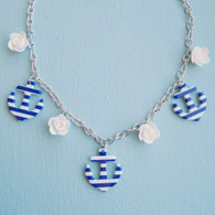 Vintage inspired nautical anchor necklace, blue and white by Juicy Lucy
