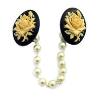 Black and Ivory Rose Cameo Sweater Clip by Juicy Lucy