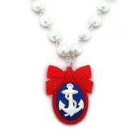 Anchor Cameo Necklace with White Pearls by Juicy Lucy