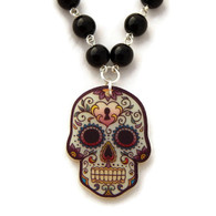 Black Beaded Sugar Skull Necklace by Juicy Lucy