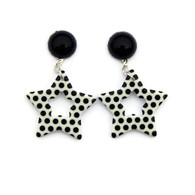 Retro Black and White Polka Dot Star Earrings by Juicy Lucy