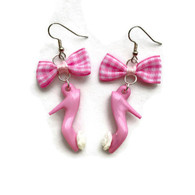 Pink Gingham Bow and High Heel Earrings by Juicy Lucy