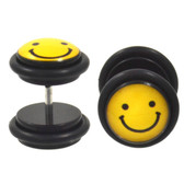 Black & Yellow Smiley Face Fake Plug Earrings (00g Look)