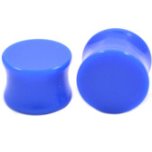 "Blue Colored Acrylic Saddle Ear Plugs (8g-1"")"