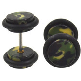 Double Sided Army Green Camo Fake Plugs (00g Look)