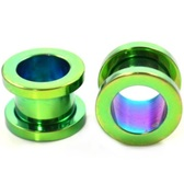 "Green Titanium Screw Fit Tunnel Plugs (14g-1"")"