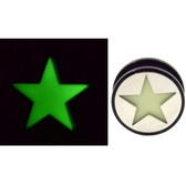 "Glow in the Dark Star Acrylic Screw Ear Plugs (2g-1"")"