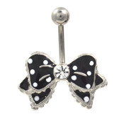 Black and White Polka Dot Bow Tie Belly Ring