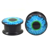 "Blue/Green Eyeball Acrylic Screw Ear Plugs (8g-13/16"")"