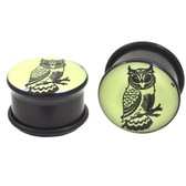 "Glow In The Dark Owl Logo Single Flared Plugs (0g-1"")"
