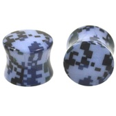 "Blue Digital Camo Print Saddle Fit Ear Plugs (2g-5/8"")"