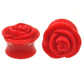"Acrylic Red Rose Double Flared Plugs (4g-5/8"")"