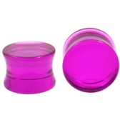 "See Through Purple Acrylic Saddle Ear Plugs (8g-1"")"