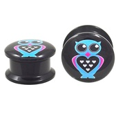 "Romantic Owl Acrylic Screw Ear Plugs (8g-13/16"")"