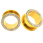 "Gold Plated Clear Gem Rim Screw Tunnels (10g-5/8"")"