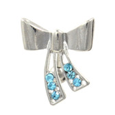 Aqua Multi Gem Steel Ribbon Top Down Belly Ring