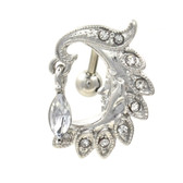 Clear Gemmed Moon Sliver Face Top Down Belly Ring