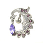 Tanzanite Gems Moon Sliver Face Top Down Belly Ring
