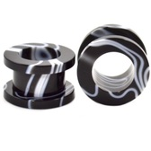 Black & White Marbled Screw Fit Tunnels (8g-00g)