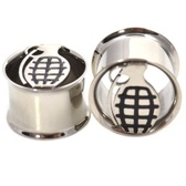 "Steel Cut Grenade Double Flared Tunnel Plugs (2g-5/8"")"