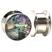 "Abalone Shell Dome Stainless Ear Plugs (8g-1"")"