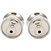 "Beer Can Tab Top Steel Saddle Ear Plugs (0g-5/8"")"
