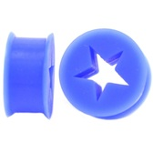 "Blue Silicone Cut Star Center Ear Plugs (6g-13/16"")"