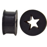 "Black Silicone Cut Star Center Ear Plugs (6g-13/16"")"