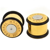 "Gold Plated 357 Magnum Bullet Ear Plugs (2g-5/8"")"
