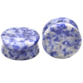 "Lapis Lazuli Blue Stone Double Flared Plugs (8g-1"")"