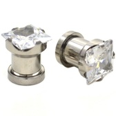 "Clear Square Diamond Cut Steel Ear Plugs (8g-1/2"")"