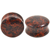 "Red Obsidian Stone Double Flared Ear Plugs (8g-1"")"