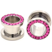 "Pink Gem Rim Screw Fit Steel Tunnels (8g-1/2"")"
