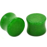 "Dk Green Jade Stone Double Flared Plugs (6g-5/8"")"