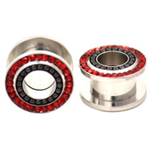 "Black Bead/Red Gem Rim Screw Fit Tunnels (8g-5/8"")"