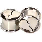 "Steel Cut Broken Heart Dbl Flared Tunnels (2g-5/8"")"
