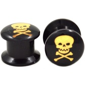 "Black/Gold Skull Crossbones Logo Ear Plugs (8g-5/8"")"