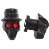 Black Acrylic Skull Red Gem Eyes Ear Plugs (8g-00g)