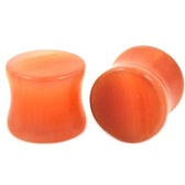 "Orange Agate Stone Double Flared Ear Plugs (8g-1"")"