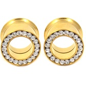 "Gold Plated Dbl Flared Look Gem Rim Tunnels (6g-1"")"