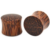 "Solid Coconut Wood Saddle Fit Ear Plugs (8g-1"")"