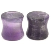 "Solid Purple Amethyst Stone Ear Plugs (6g-3/4"")"