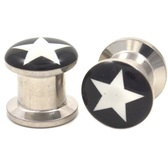 "Black and White Star Logo Steel Ear Plugs (8g-3/4"")"