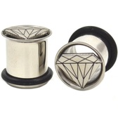 "Steel Cut Diamond Single Flared Tunnel Plugs (2g-5/8"")"
