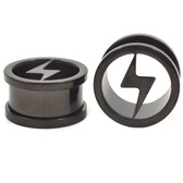 "Black Titanium Cut Bolt Ear Plug Tunnels (0g-1"")"