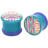 "Navajo Printed Pattern Single Flared Plugs (2g-5/8"")"