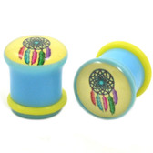 "Blue/Yellow Dreamcatcher Single Flared Plugs (2g-5/8"")"