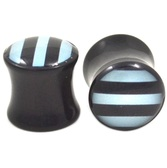 "Black and White Striped Acrylic Ear Plugs (4g-5/8"")"