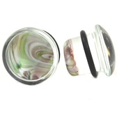 "Pyrex Glass Swirl Single Flared Ear Plugs (4g-5/8"")"